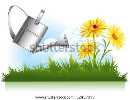 garden watering and daisies in the grass