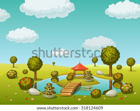 garden with lake and bridge - stock vector
