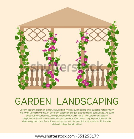 garden wooden pavilion element of landscape design colored gardening icon with text - Climbing Plants