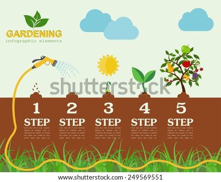 Garden work infographic elements. Working tools set. Vector illustration - stock vector