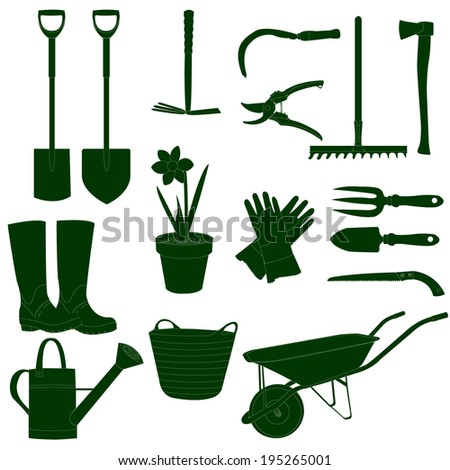 Garden work tools green&white