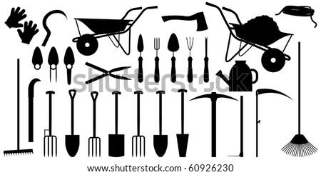 Garden working tools silhouette vector illustration - stock vector