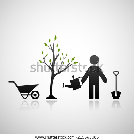 Gardener and sapling. Eps10 - stock vector