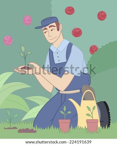 Gardener gardening garden park plants flower fruits landscape  - stock vector