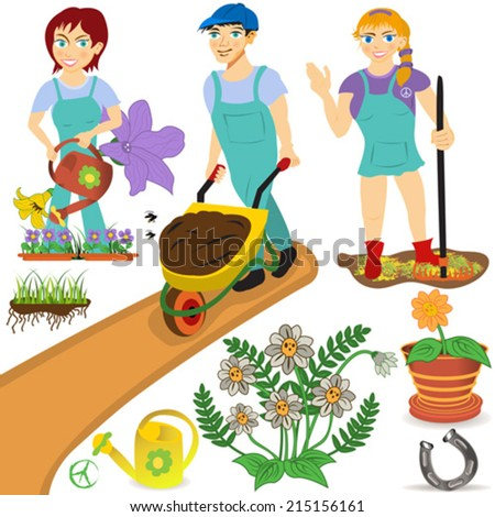 gardener illustrations - stock vector