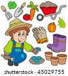 Gardener with various objects - vector illustration. - stock vector
