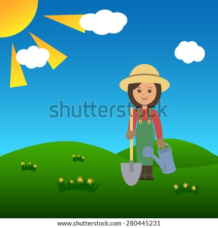 Gardener woman in a field with shovel. Vector illustration.
