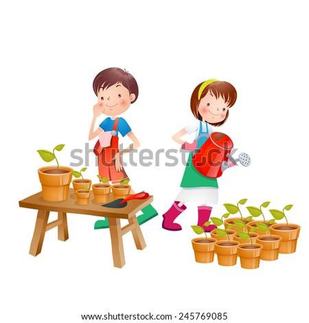 Gardening boy and girl vector illustration - stock vector