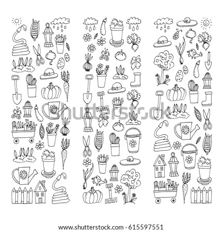 Garden Themed Doodle Set Various Equipment Stock Vector 285914873