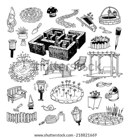 gardening element decorations, illustration vector. - stock vector