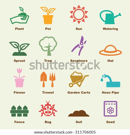 gardening elements, vector infographic icons - stock vector