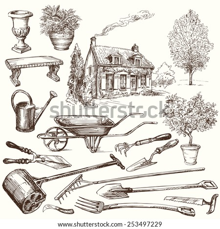 gardening, garden tools - hand drawn collection - stock vector