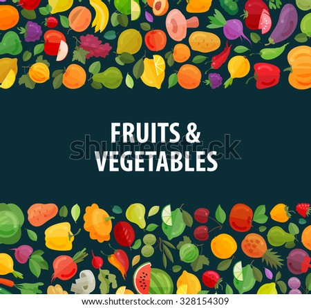 gardening, horticulture vector logo design template. fresh food or fruits and vegetables icons - stock vector