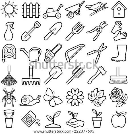 Gardening icon collection - vector illustration