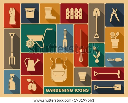 Gardening icons - stock vector