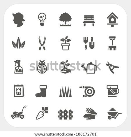 Gardening icons set - stock vector