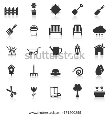 Gardening icons with reflect on white background, stock vector - stock vector