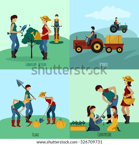 Gardening people design concept set with landscape design flat icons isolated vector illustration - stock vector