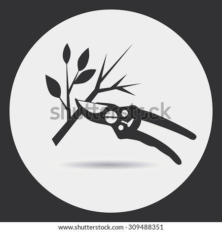 Gardening. Pruning secateurs dry branches. A black silhouette on a light background in a round frame. - stock vector
