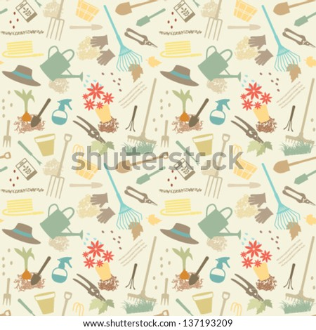 Gardening related seamless pattern 2 - stock vector