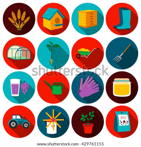 Gardening set vector icons. Collection of farm, agriculture, garden icons for web
