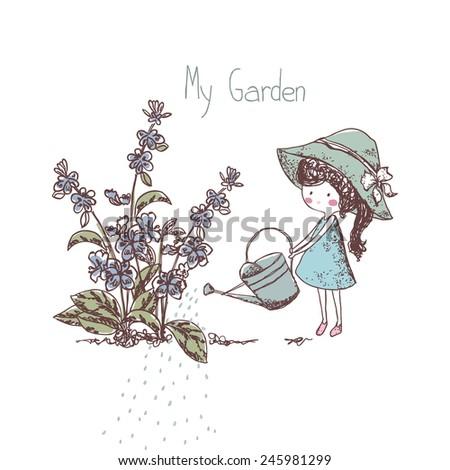 gardening theme, girl watering flowers - stock vector