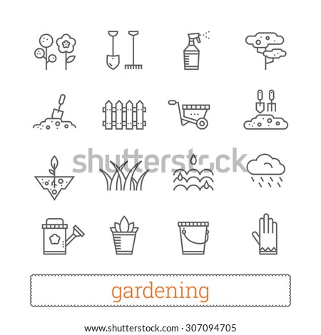 Gardening thin line icons. Vector set of plant growing and horticulture signs. - stock vector