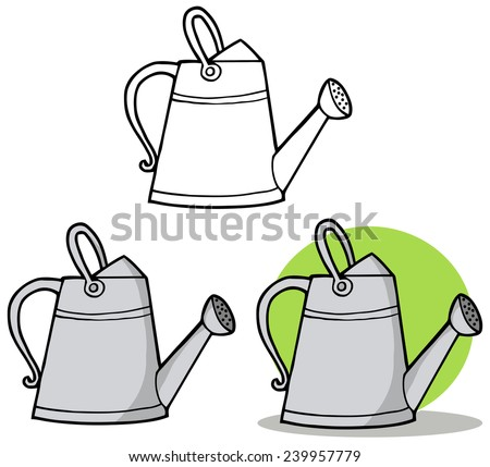Gardening Tool-Metal Gardening Watering Can. Vector Collection Set - stock vector