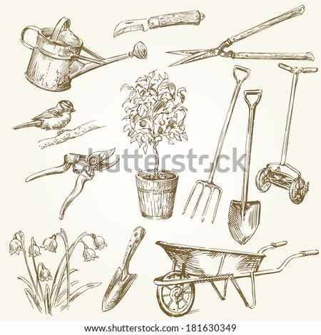 gardening tools  - stock vector