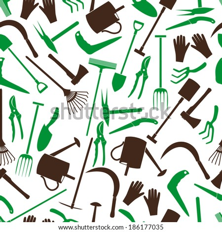 gardening tools color pattern eps10 - stock vector