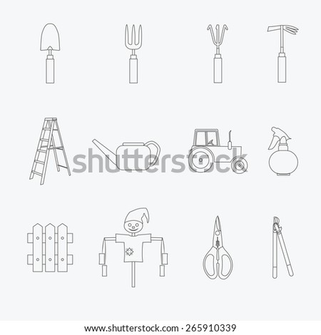 Gardening tools line icons set. Vector illustration of garden tools. Simple outlined icons. Linear style  - stock vector