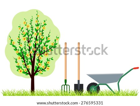 Gardening tree wheelbarrow spade and pitchfork. Eps10 vector illustration. Isolated on white background