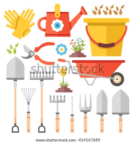 Gardening work tools flat icons set stock vector 414167689 for Gardening tools toronto