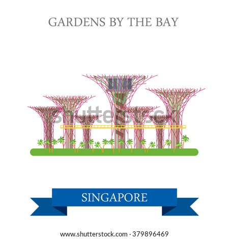 Gardens by the Bay in Singapore. Flat cartoon style historic sight showplace attraction web site vector illustration. World countries cities vacation travel sightseeing Asia collection. - stock vector