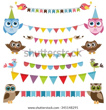 Garland and bunting set with birds - stock vector
