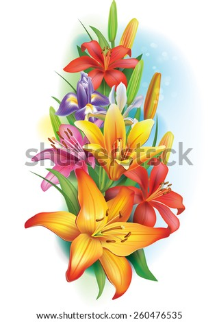 Garland of lilies and irises flowers - stock vector