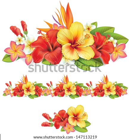 Garland of of tropical flowers - stock vector