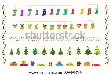 garland  set of pixel art for christmas and new year vector and raster - stock vector