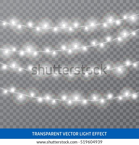 Garlands, Christmas decorations. Vector isolated realistic glowing garland threads of white lamp lights. Christmas, New Year bulb lights design elements.