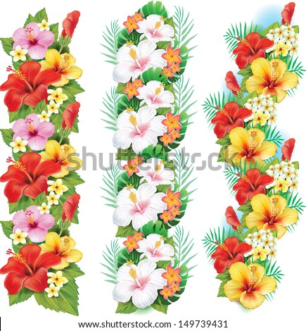 Garlands of hibiscus flowers - stock vector