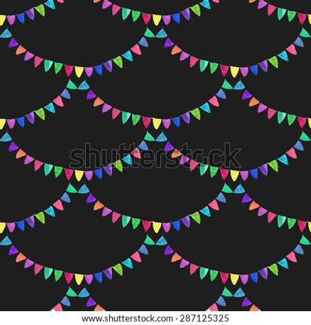 Garlands. Seamless pattern with flags. Hand-drawn background. Vector illustration. Real watercolor drawing. - stock vector