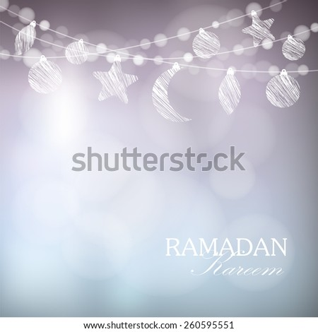 Garlands with moon, stars, lights, vector illustration background, card, invitation for muslim community holy month Ramadan Kareem - stock vector