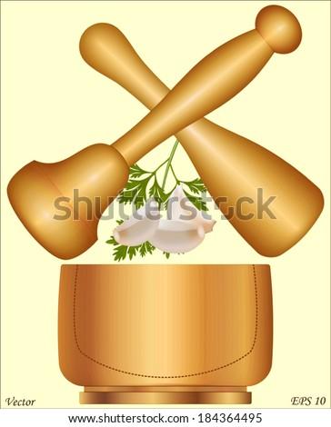 Garlic pestle and mortar - stock vector
