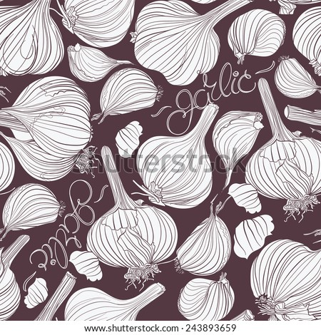 Garlic. Seamless pattern. Different garlic bulbs and lettering white on dark background. Good for menu, cards, labels, packaging. - stock vector