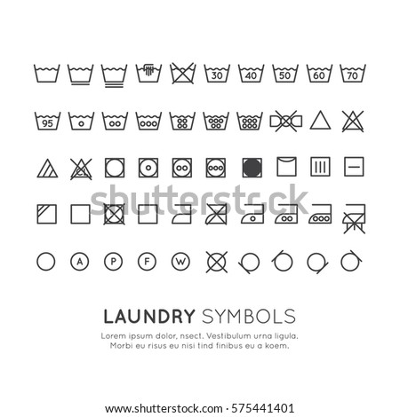 Garment Care Symbols Set The On Labels Of Clothes Washing Wringing