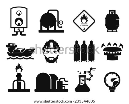 Gas and Oil icons set // 03 - stock vector