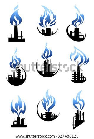 Gas and oil industry icons showing chemical industrial plants and factories with pipelines, tank storages, chimneys and powerful blue flames above them - stock vector