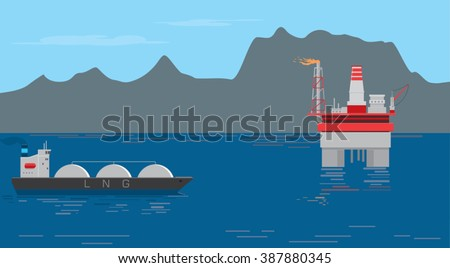 Gas drilling platform installed in the sea off the coast. LNG ship tanker with compressed gas passes close to the drilling platform / Drilling oil and gas. Gas production / vector illustration design - stock vector