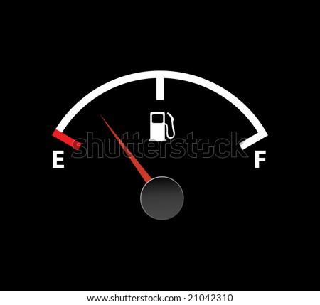 gas empty meter - stock vector