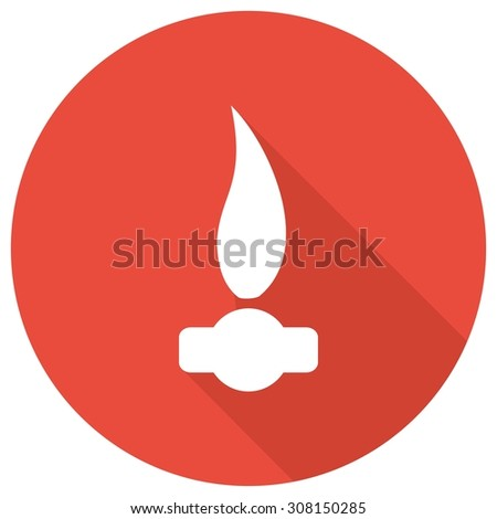 Gas Flame Icon with a long shadow - stock vector